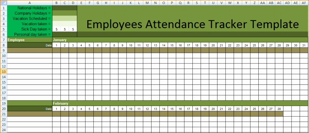 Leave Tracker Excel Template Unique Employee Absence Tracking Excel Template 2018 Excel Leave