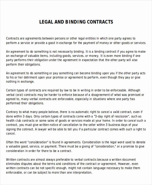 Legal Binding Contract Template Best Of 70 Agreement Examples