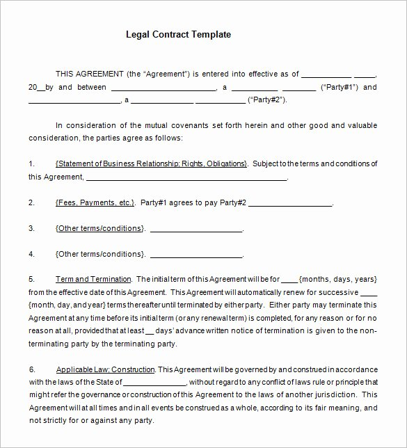 Legal Binding Contract Template Elegant 15 Legal Contract Templates Free Word Pdf Documents