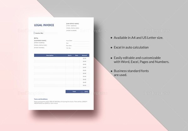 Legal Invoice Template Word New Free Printable Invoice Template 34 Free Word Excel