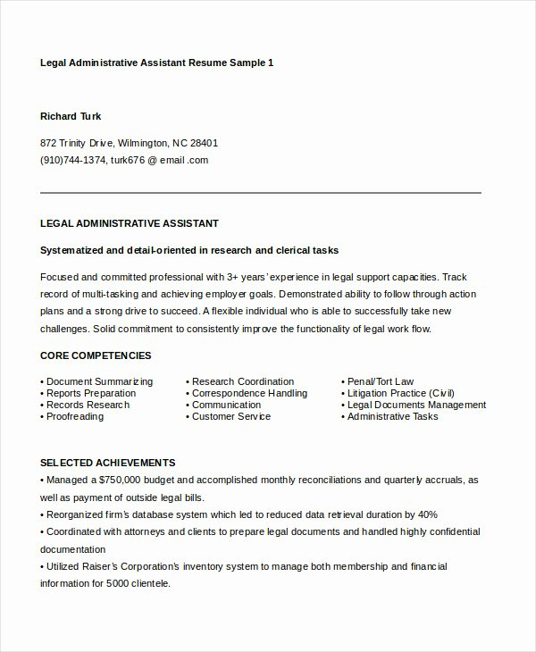 Legal Resume Template Word Awesome Administrative assistant Resume 14 Free Word Pdf Psd