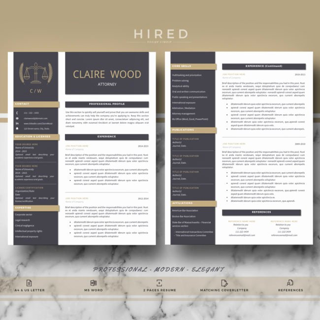 """Legal Resume Template Word New """"claire"""" Hired Design Studio"""