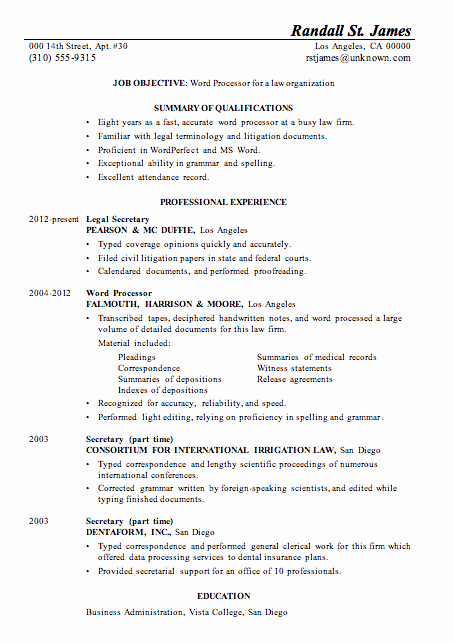 Legal Resume Template Word New Resume Sample Word Processor for Law Firsm
