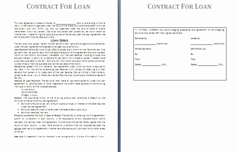 Lending Money Contract Template Free Awesome Money Lending Agreement format Ideal Money Loan Contract