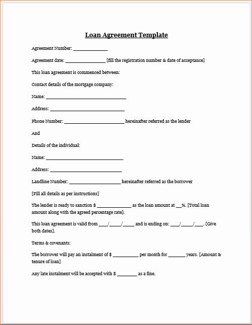 Lending Money Contract Template Free Fresh 4 Money Loan Contractreport Template Document