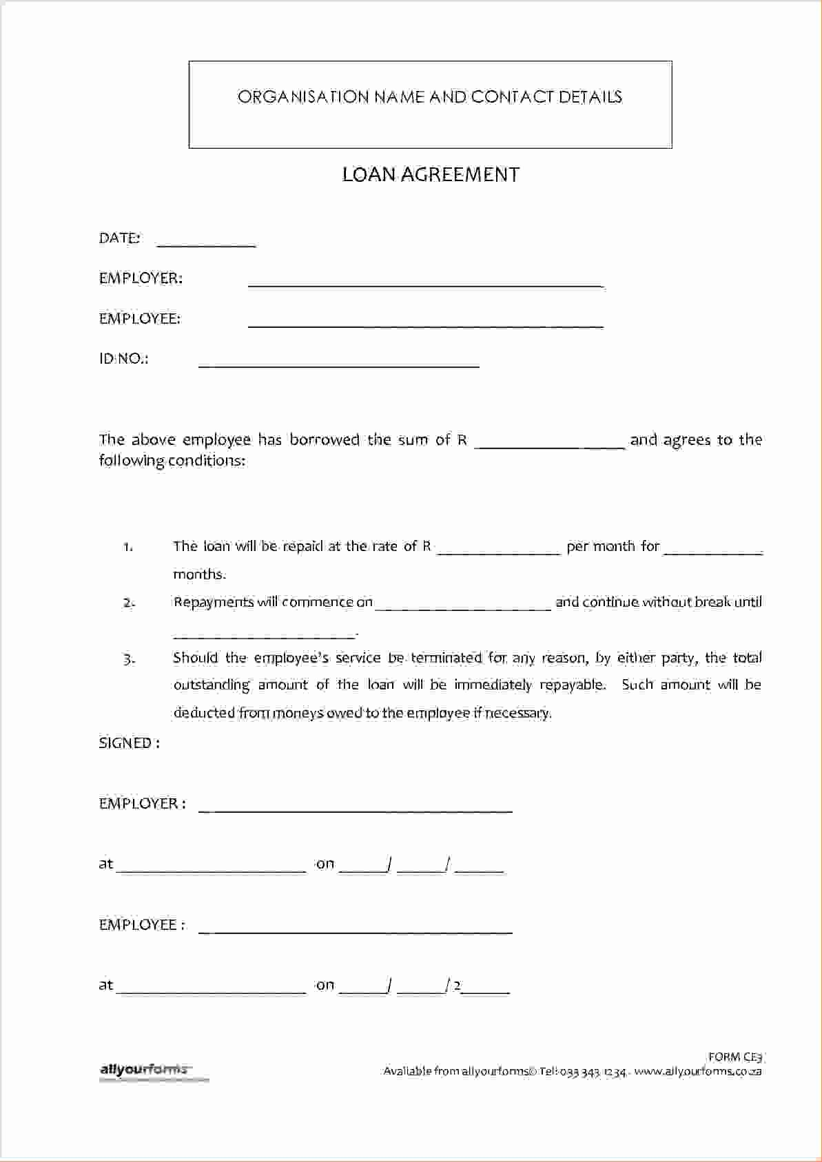 Lending Money Contract Template Free Lovely 4 Money Loan Contractreport Template Document