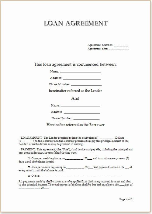 Lending Money Contract Template Free Luxury Loan Agreement format for Money Lending Vatansun