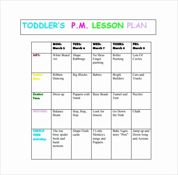 Lesson Plans for toddlers Template Elegant Lesson toddler Curriculum Template Creative Infant Plan