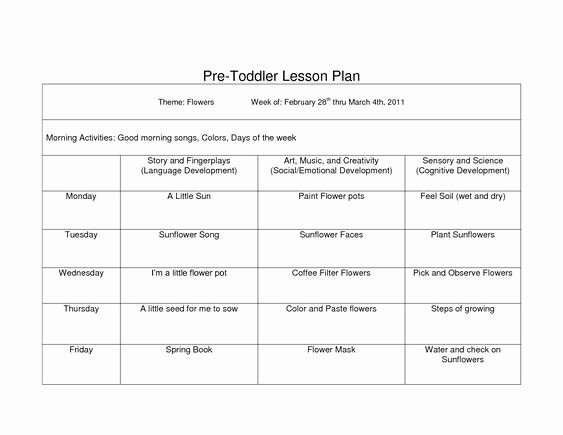 Lesson Plans for toddlers Template Lovely toddler Lesson Plan Template Pdf Google Search