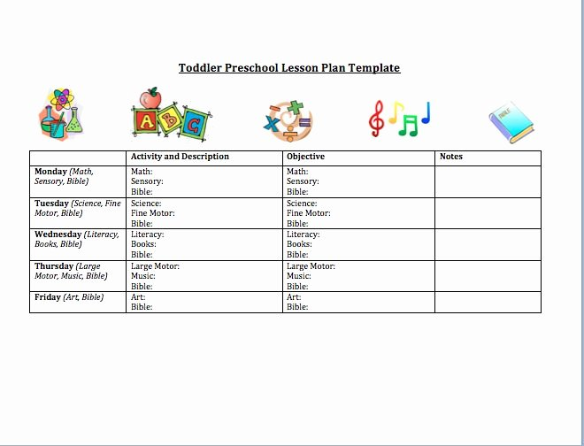 Lesson Plans for toddlers Template Luxury toddler Preschool Lesson Plan Template