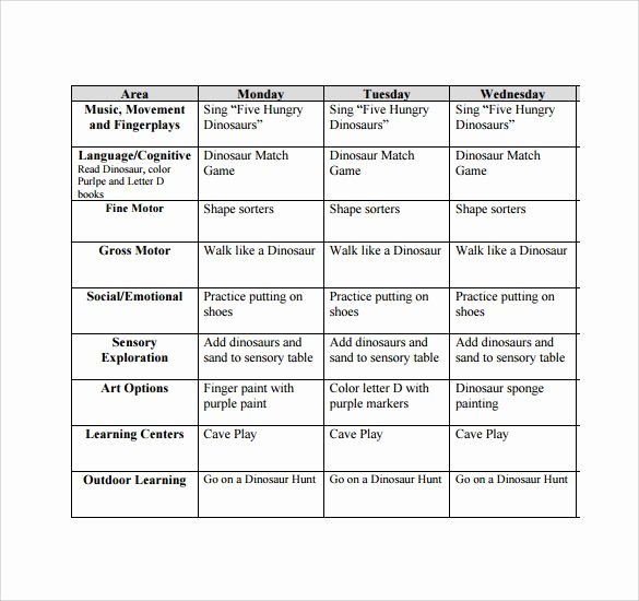 Lesson Plans for toddlers Template Unique Free toddler Lesson Plan Template for Carrie