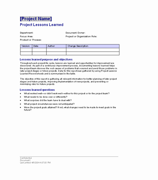 Lessons Learned Project Management Template Awesome Project Lessons Learned Templates Fice Free Ms