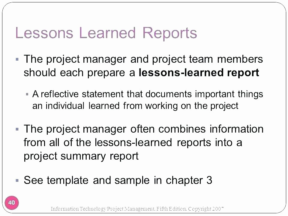 Lessons Learned Project Management Template Inspirational Prince2 Lessons Learned Report Example Project Management