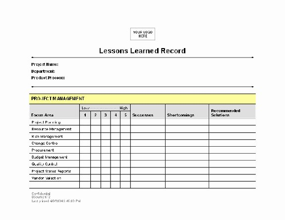 Lessons Learned Project Management Template Lovely Lessons Learned Template