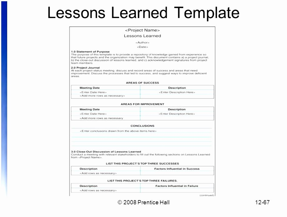 Lessons Learned Project Management Template New 7 Project Management Lessons Learned Template Free atyoe