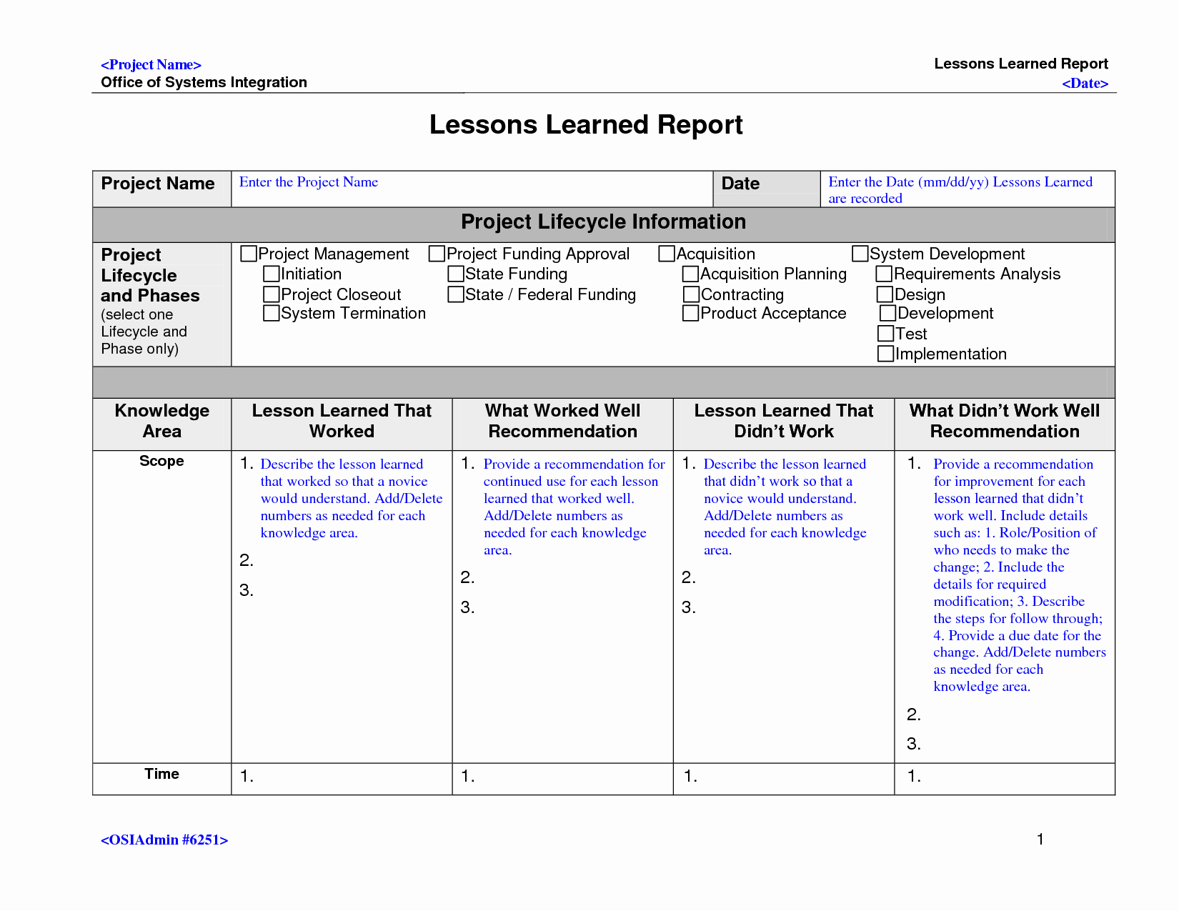Lessons Learned Project Management Template Unique Lessons Learned Template