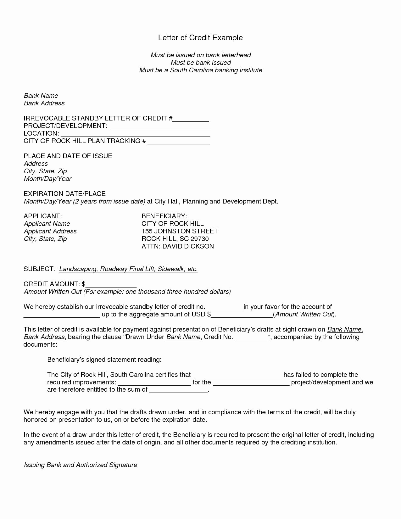 Letter Of Credit Template Elegant Letter Credit format Union Bank India