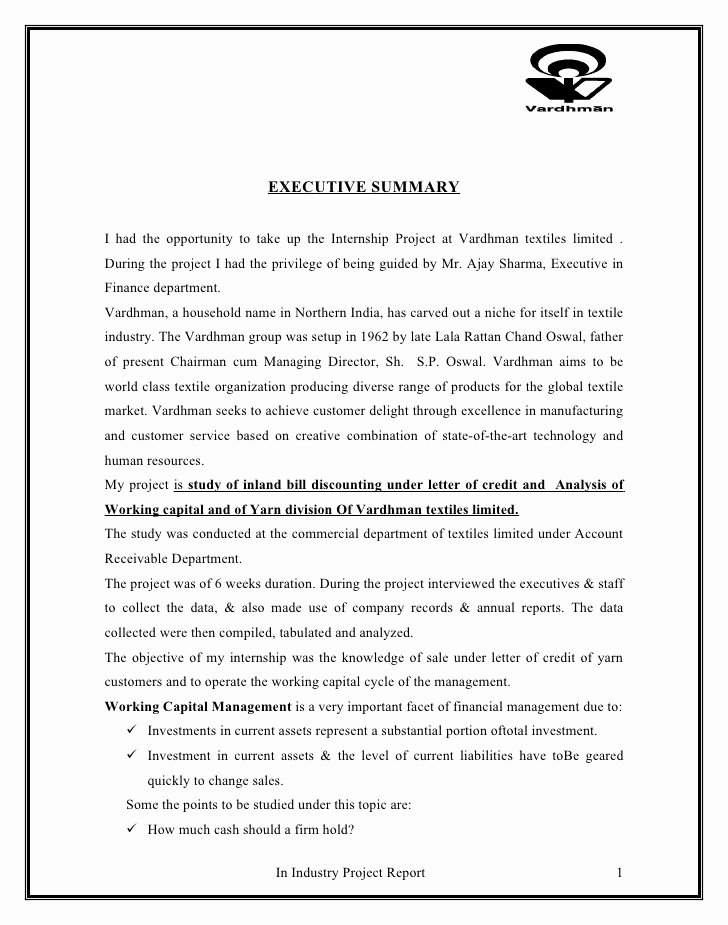 Letter Of Credit Template Inspirational Project On Letter Of Credit and Working Capital