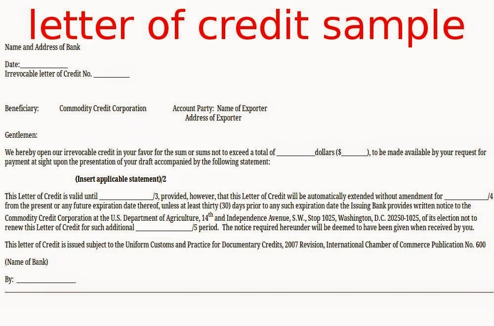 Letter Of Credit Template New April 2015 Samples Business Letters