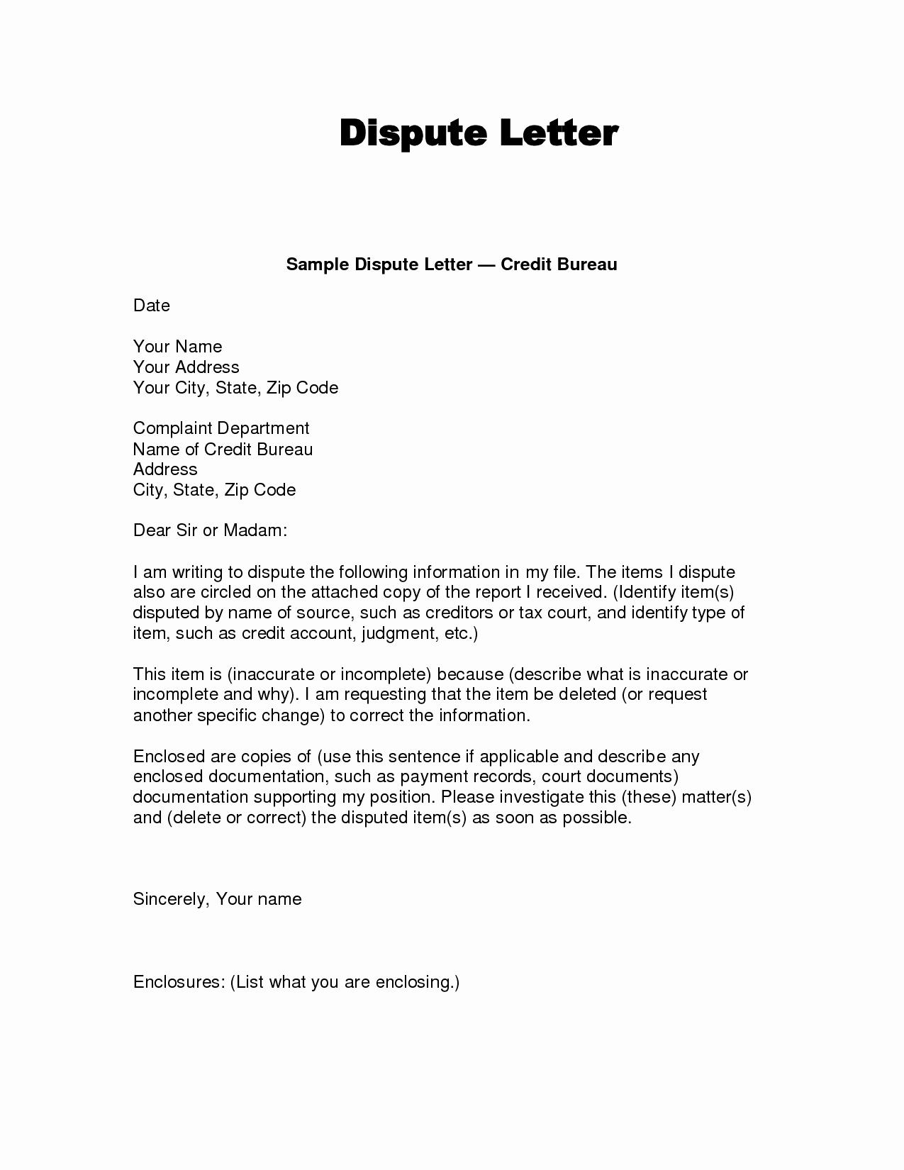 Letter Of Credit Template Unique Dispute Letter to Credit Bureau Template