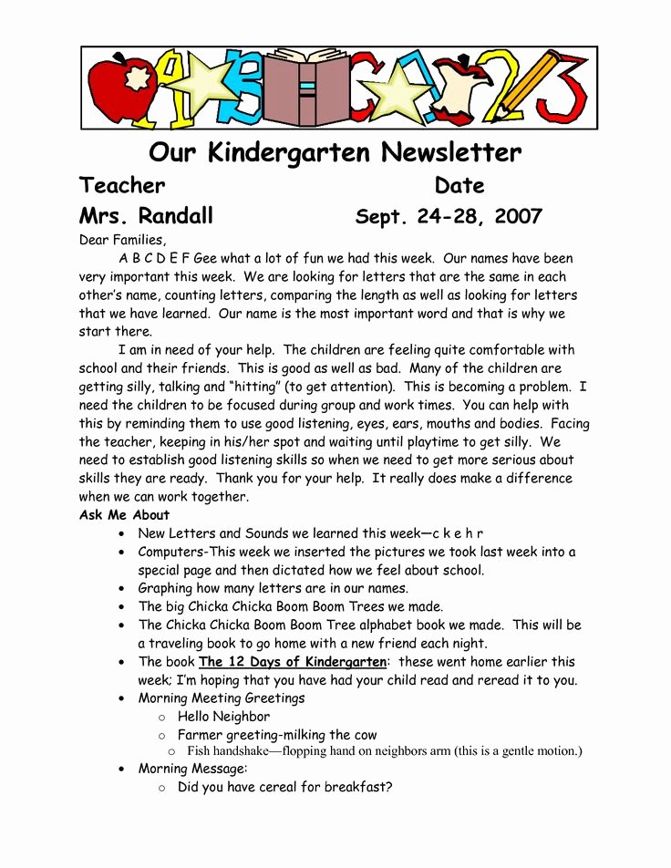 Letter to Parent Template Awesome Sample Wel E to Kindergarten Letters