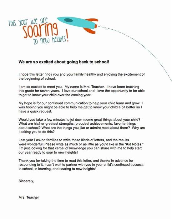Letter to Parent Template Fresh Teacher Templates Letters Parents
