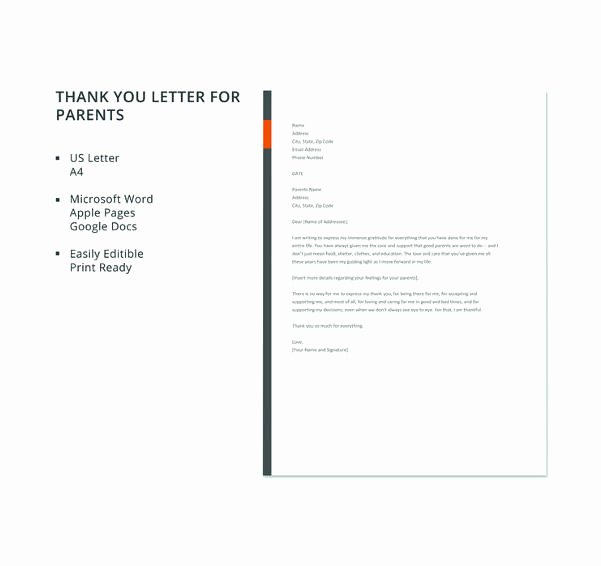 Letter to Parent Template Luxury 6 Thank You Letter to Parents Pdf Doc