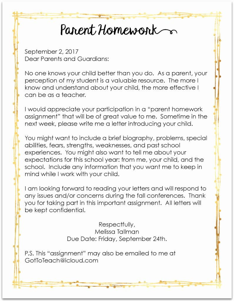 Letter to Parent Template Unique Teachers You Must Send This Letter Home On the First Day
