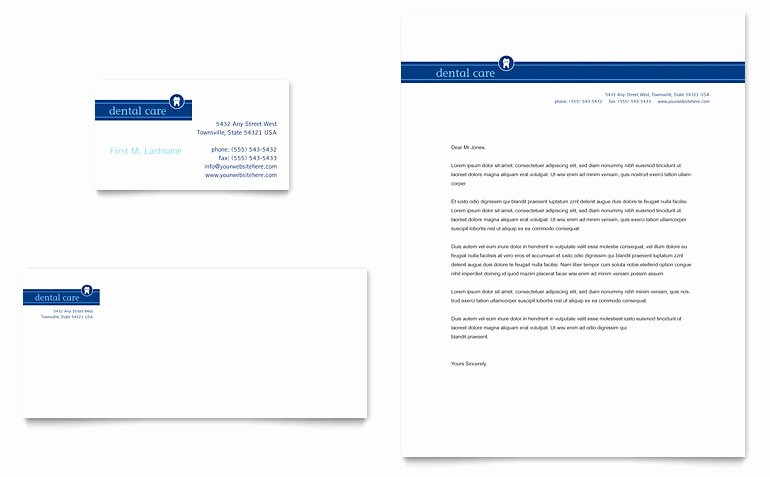 Letterhead Template Microsoft Word Elegant Dentist Fice Business Card & Letterhead Template Word