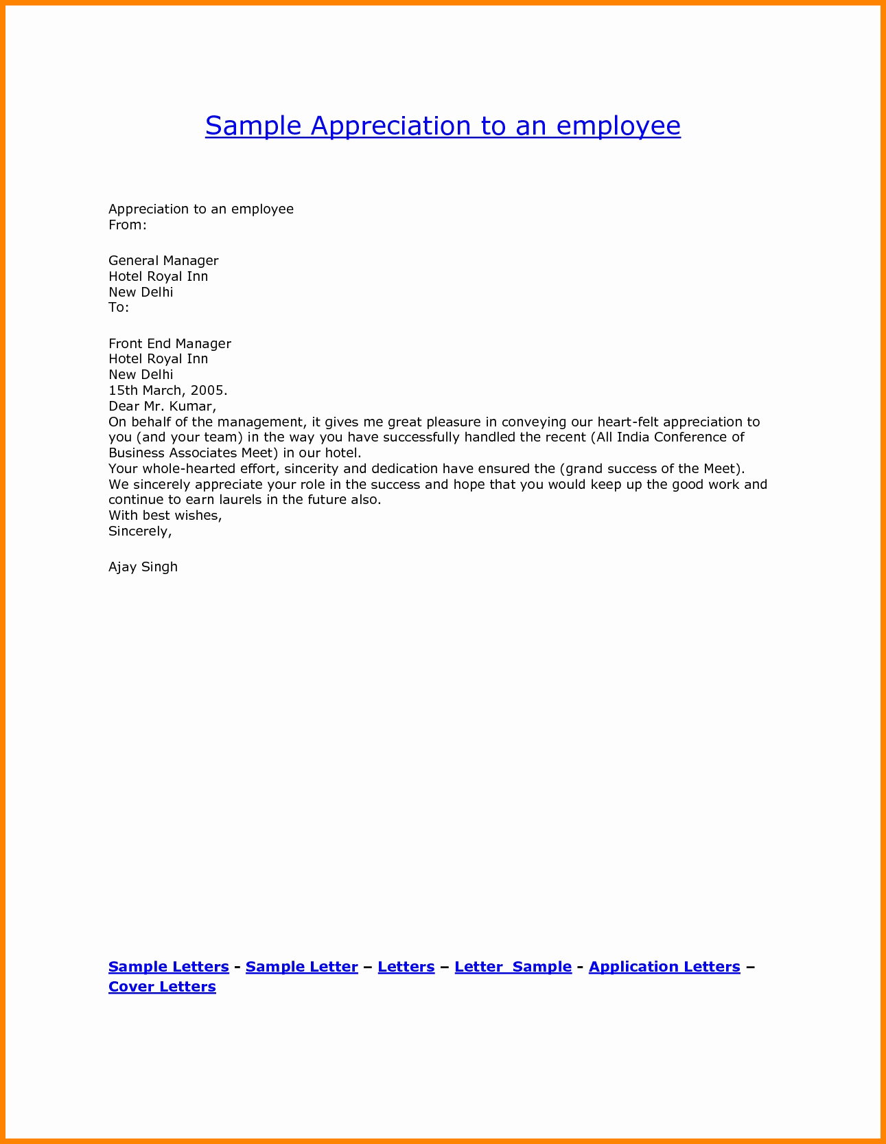 Letters Of Appreciation Template Awesome 6 Employee Appreciation Letters