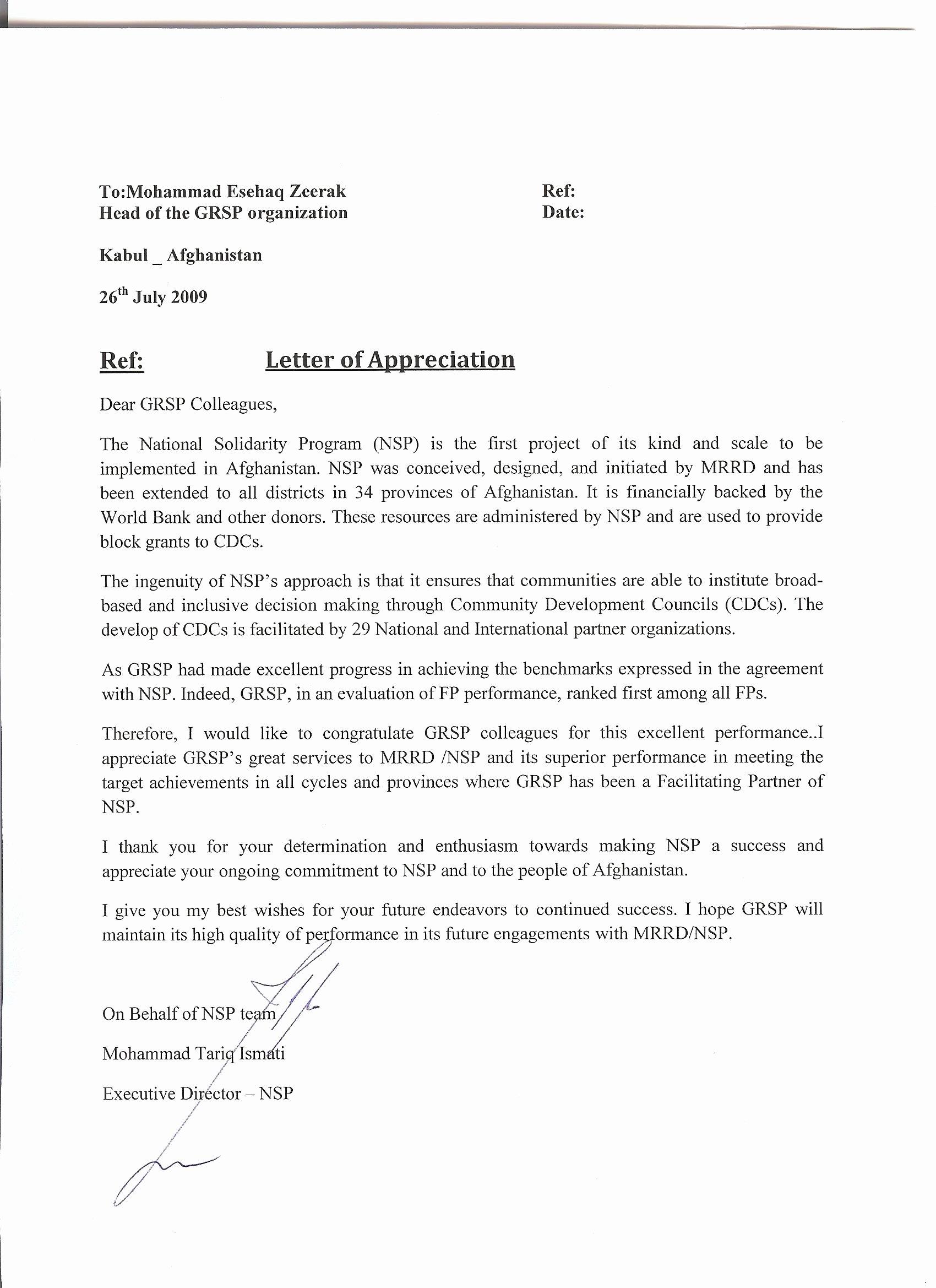 Letters Of Appreciation Template Fresh Appreciation Letter