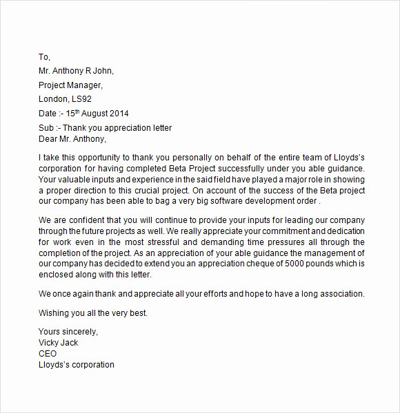 Letters Of Appreciation Template Inspirational Sample Appreciation Letter 8 Free Documents Download In