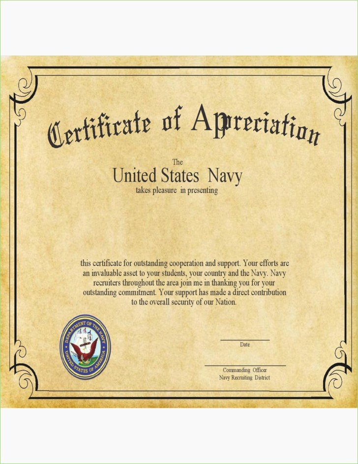 Letters Of Appreciation Template Lovely Navy Letter Appreciation format – thepizzashop