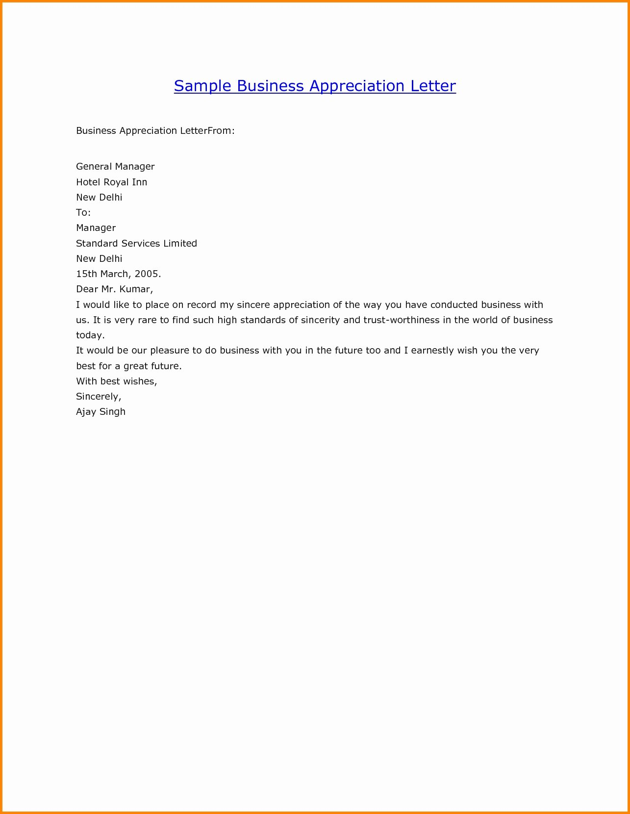 Letters Of Appreciation Template New Business Appreciation Letter