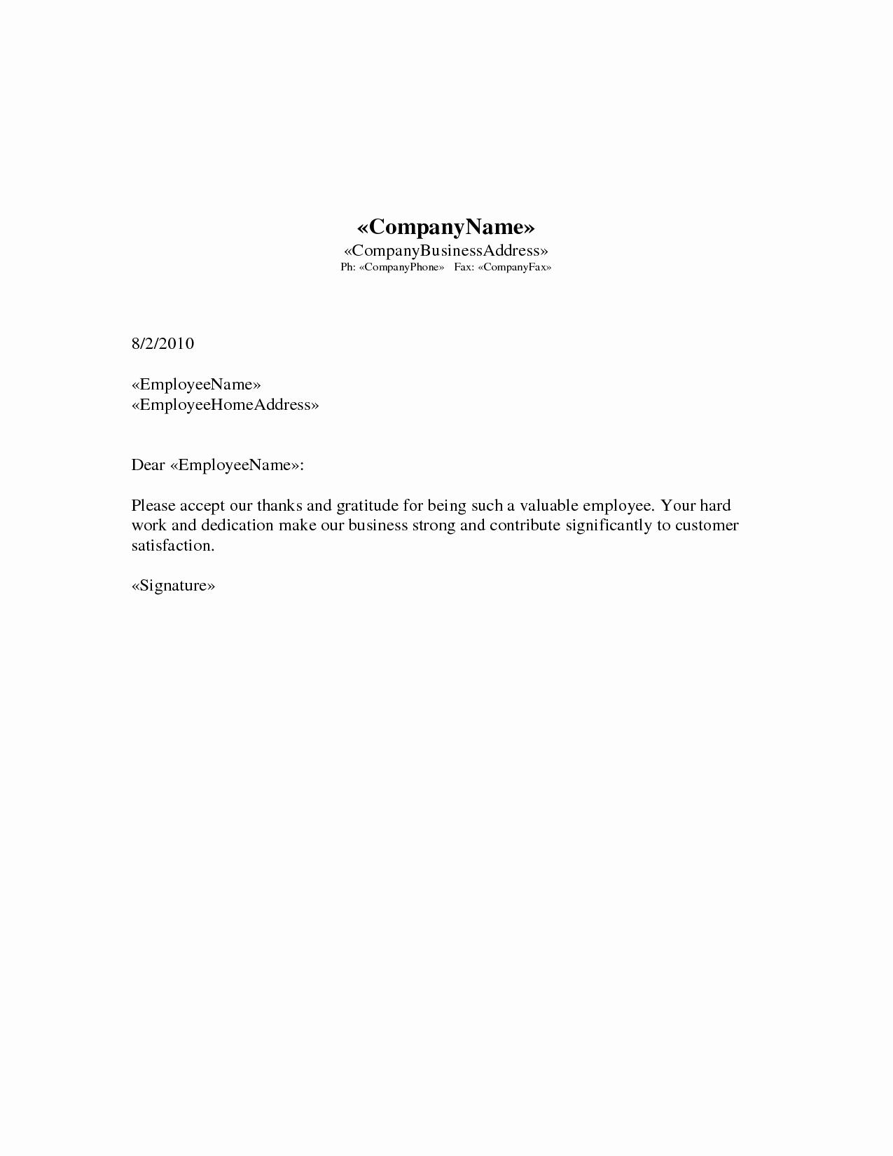 Letters Of Appreciation Template Unique Appreciation Letter