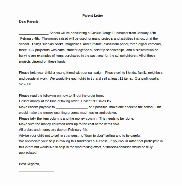 Letters to Parents Template Beautiful Fundraising Letter Template – 7 Free Word Pdf Documents