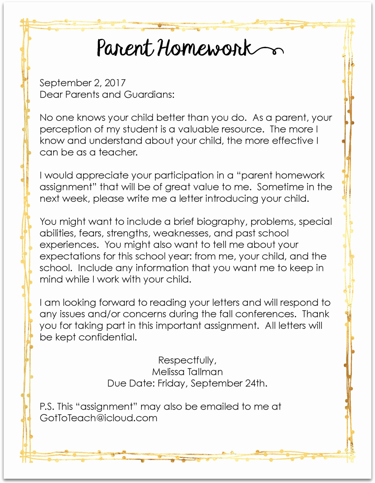 Letters to Parents Template Elegant Teachers You Must Send This Letter Home On the First Day