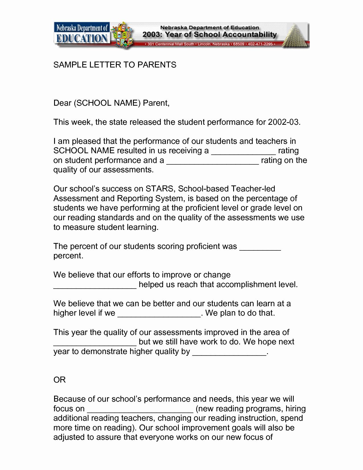 Letters to Parents Template Fresh Dear Parents Letter From Teacher Sample