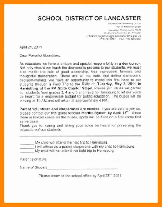Letters to Parents Template Fresh Educational Field Trip Letter to Parents Template 28