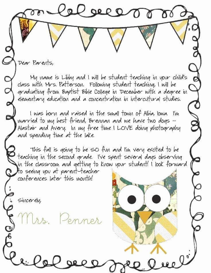 Letters to Parents Template Inspirational Meet the Teacher Letter Classroom Ideas