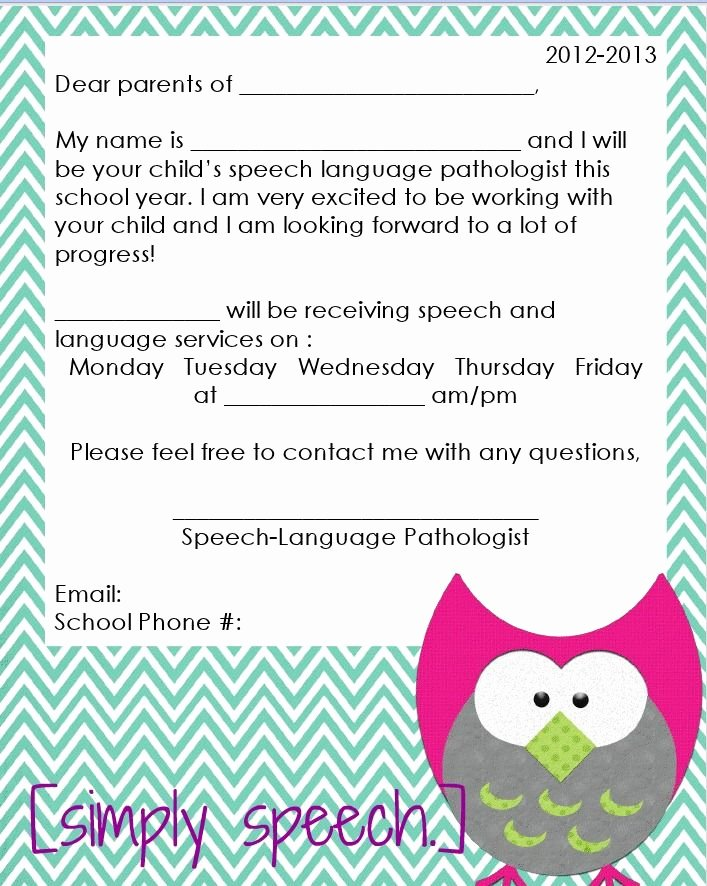 Letters to Parents Template Luxury 354 Best Slp Parent Teacher Information Images On Pinterest