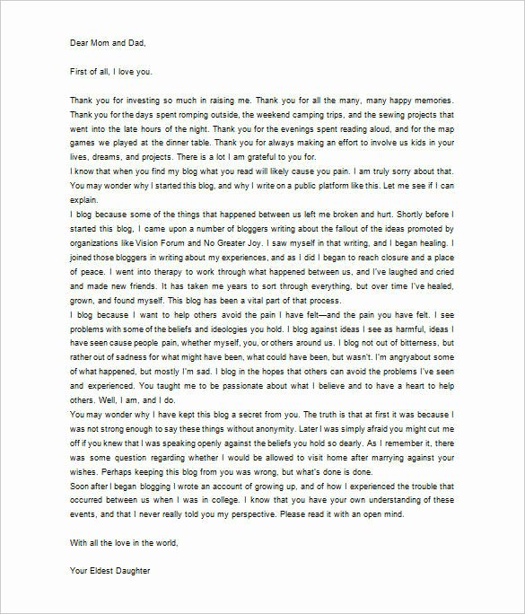 Letters to Parents Template Luxury 6 Thank You Letter to Parents Pdf Doc
