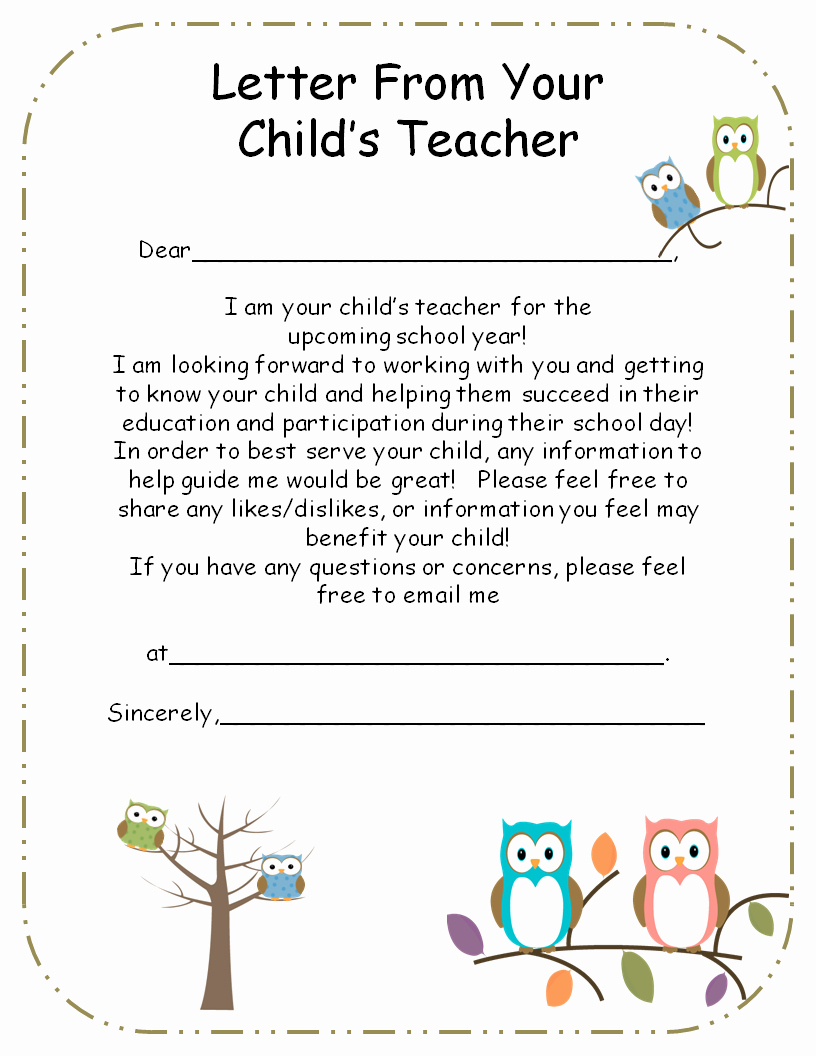 Letters to Parents Template New Letter From Teacher to Parents Editable