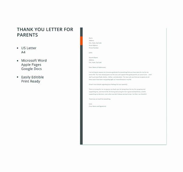 Letters to Parents Template Unique 6 Thank You Letter to Parents Pdf Doc