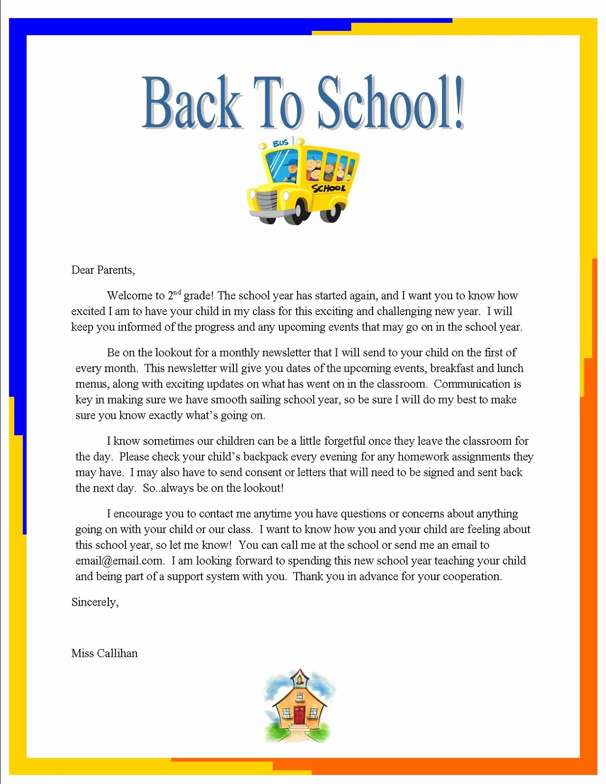 "Letters to Parents Template Unique Emily S Blog Week 3 ""back to School"" Letter to Parents"