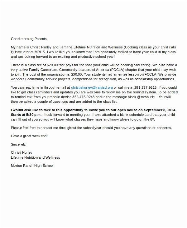 Letters to Parents Template Unique Wel E Letter Template 7 Free Word Pdf Documents