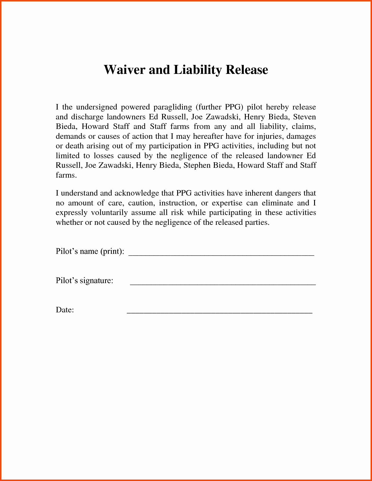 Liability Waiver form Template Free Awesome form Printable Release Liability form Release