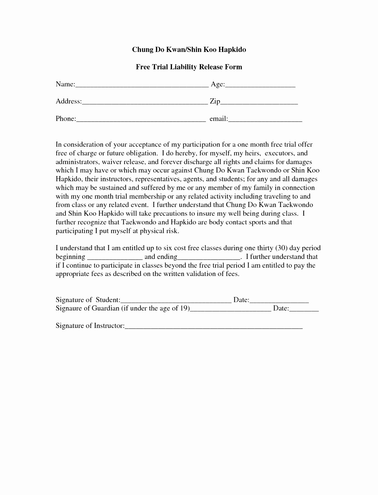Liability Waiver form Template Free Best Of 6 Fitness Waiver and Release form Template Ueeur