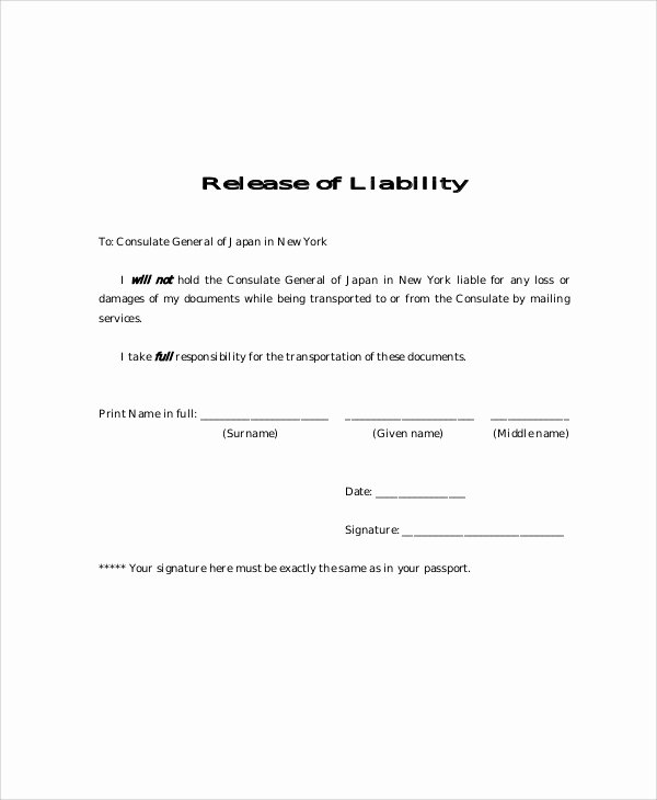 Liability Waiver form Template Free Best Of 9 Free Release Of Liability form Samples