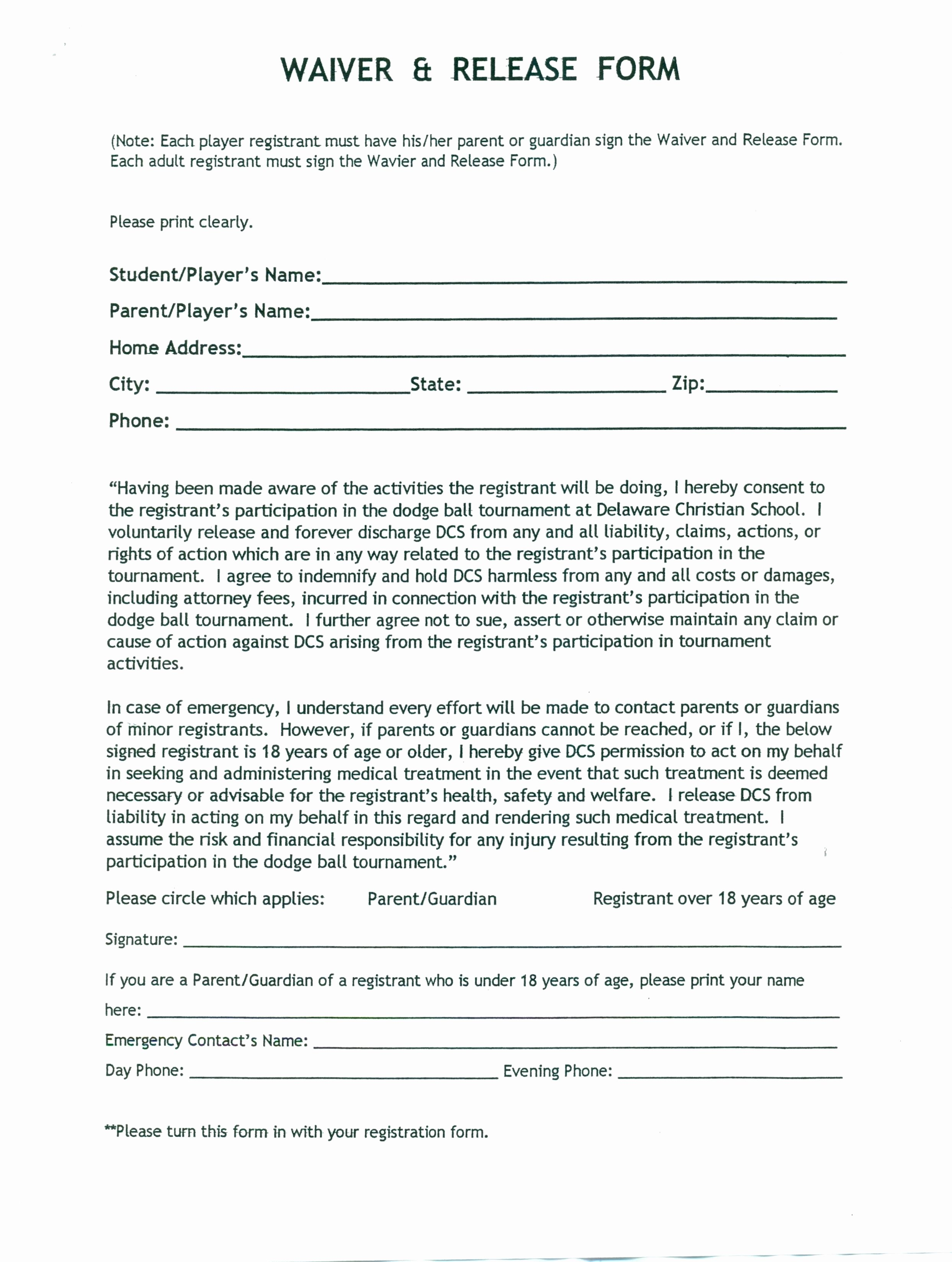 Liability Waiver form Template Free Elegant Template Release Liability form Template